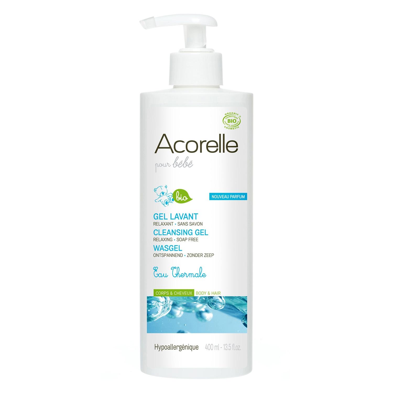Gel agua termales para cuerpo y pelo bebé ecológico Acorelle 400 ml.