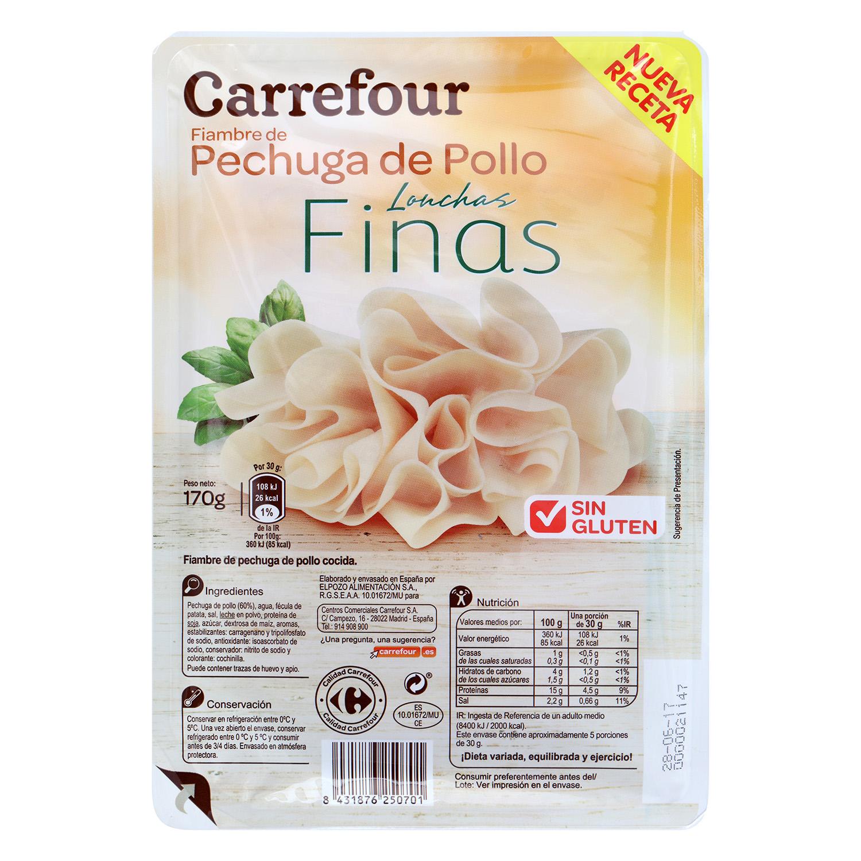 Pechuga de pollo finas lonchas Carrefour sin gluten 170 g.