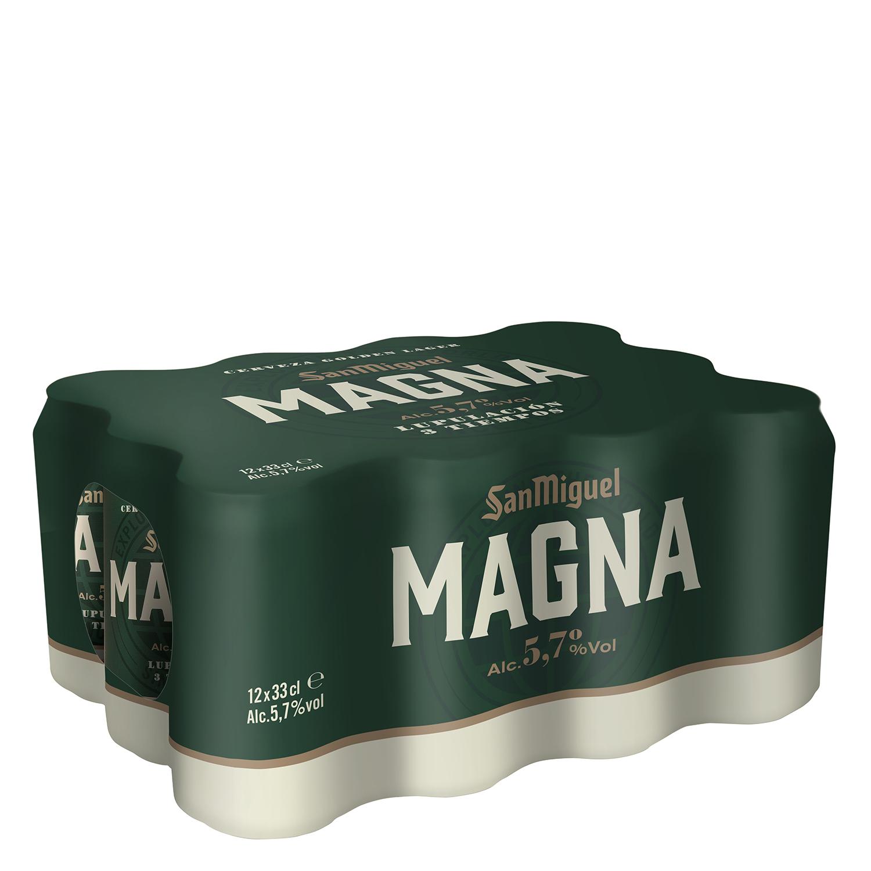 Cerveza San Miguel Magna pack de 12 latas de 33 cl.