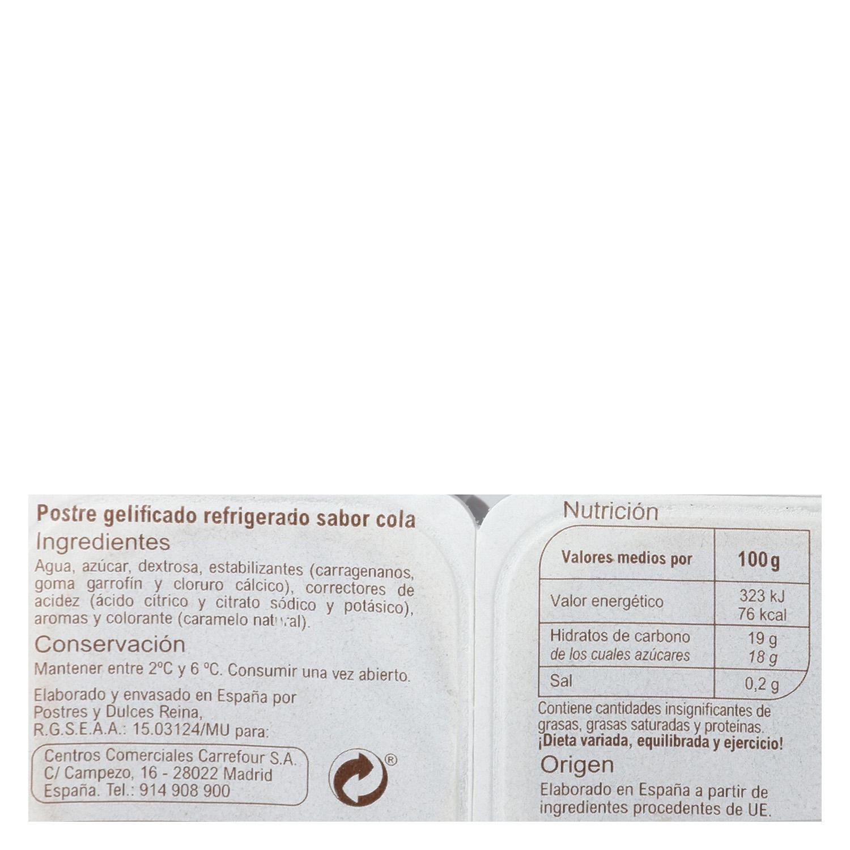 Gelatina sabor cola jellies Carrefour sin gluten pack de 6 unidades de 100 g. -