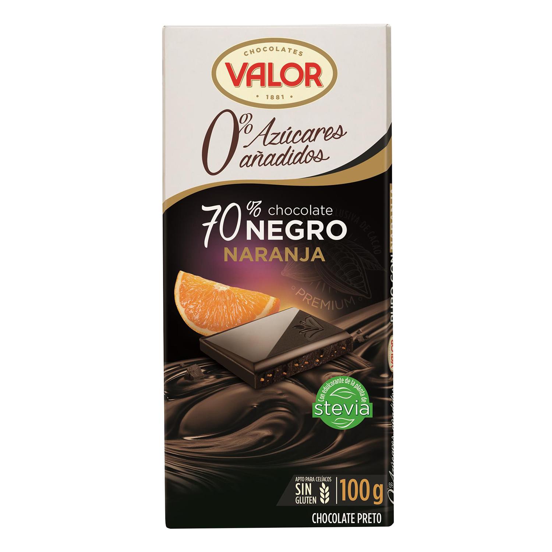 Chocolate negro 70% con naranja y stevia sin azúcar añadido Valor sin gluten 100 g.