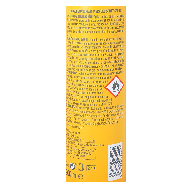 Spray solar SPF 50 Les Cosmétiques 200 ml. -