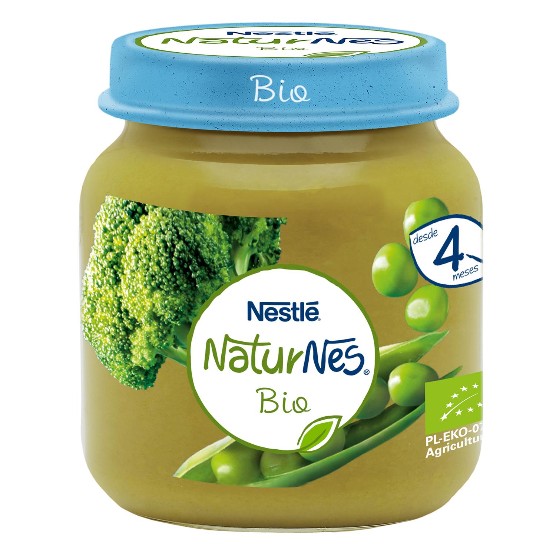 Tarrito de guisantes y brócolio ecológicos Nestlé Naturnes 125 g.
