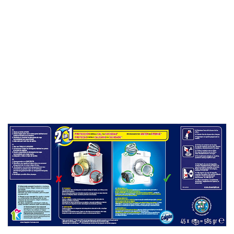 Antical para lavadoras 2 en 1 en pastillas Calgon 45 ud. -