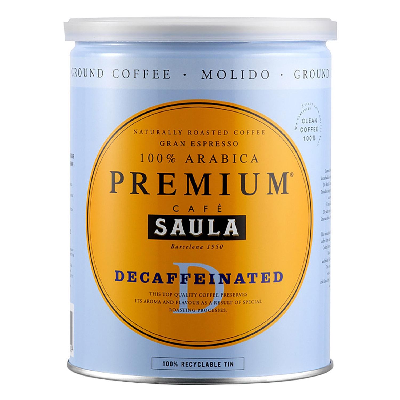 Café molido natural descafeinado Saula 250 g.