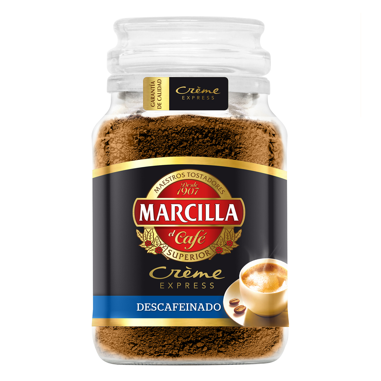 Café soluble descafeinado créme express Marcilla 200 g.