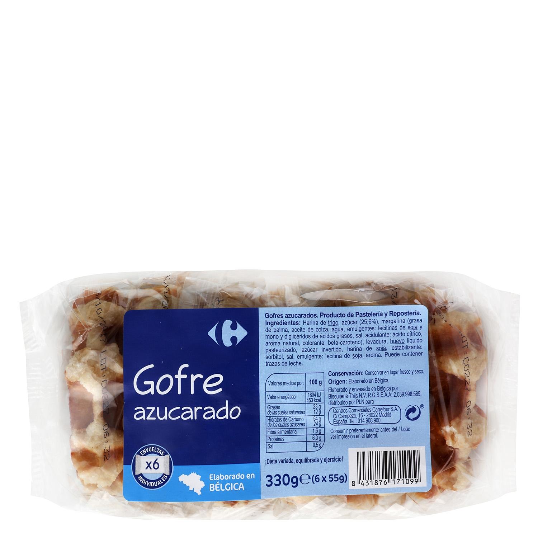 Gofre natural Carrefour pack de 6 unidades de 55 g.