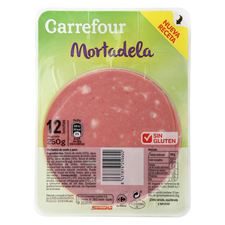 Mortadela en lonchas Carrefour sin gluten 250 g.