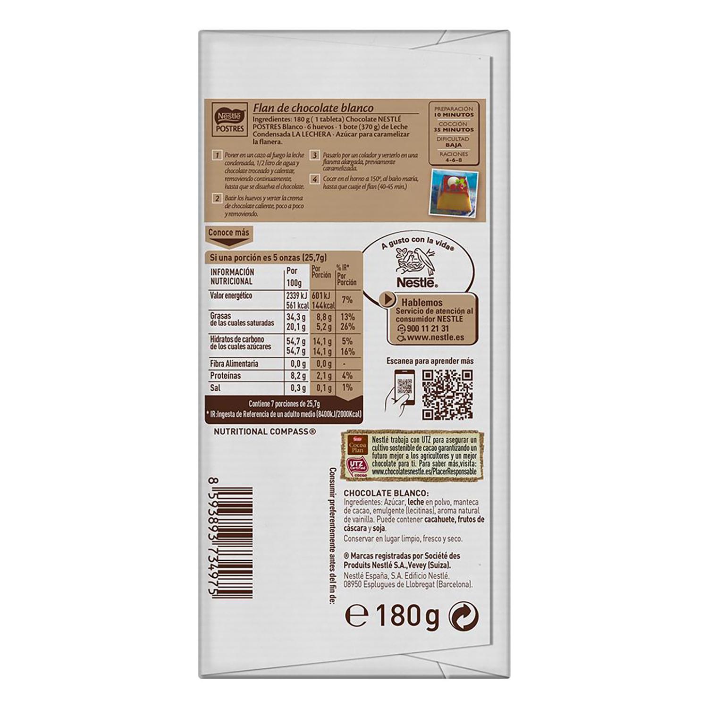 Chocolate blanco especial postres Nestlé sin gluten 180 g. -
