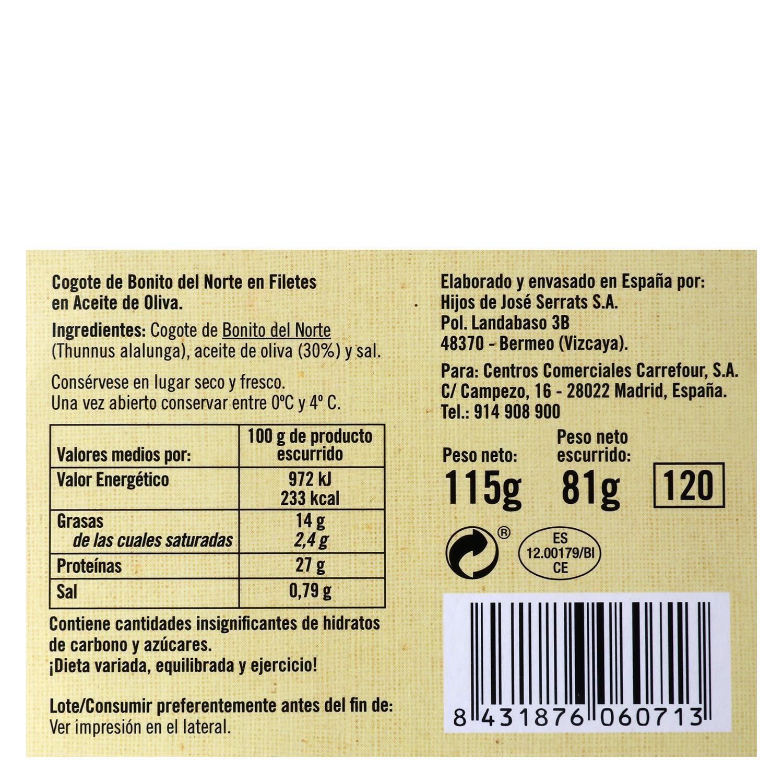 Cogote de Bonito del Norte en aceite de oliva De Nuestra Tierra 85 g. -