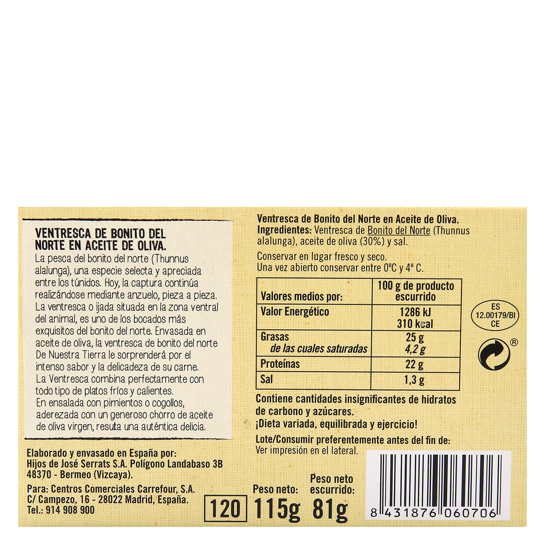 Ventresca de bonito del Norte en aceite oliva De Nuestra Tierra 85 g. -