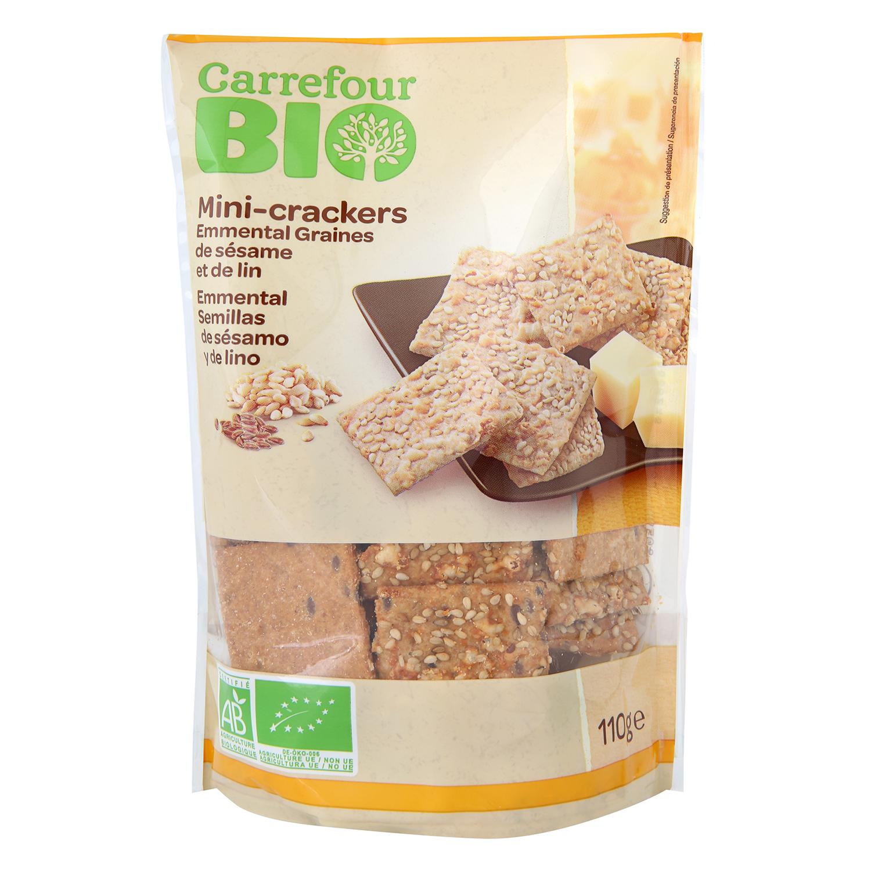 Crackers minis con queso emmental y semillas de lino ecológicos Carrefour Bio 110 g.