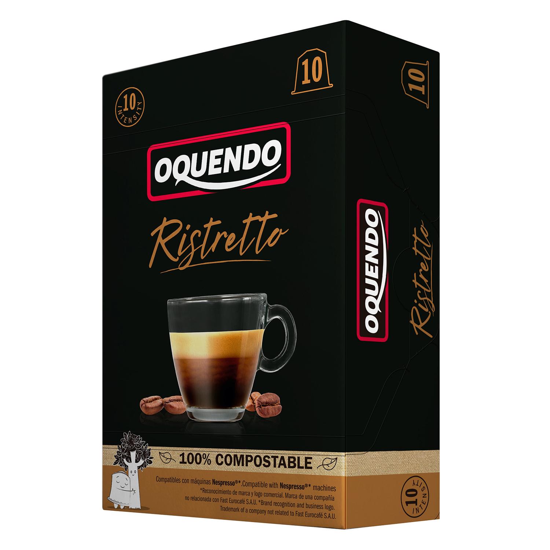 Café ristretto en cápsulas Oquendo compatible con Nespresso 10 ud.
