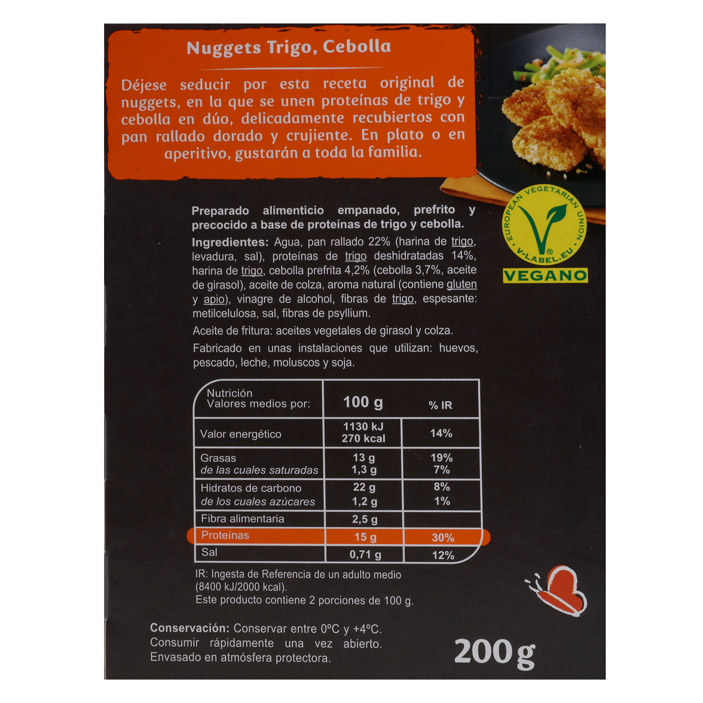 Nuggets vegetal de proteínas de trigo y cebolla Veggie Carrefour Veggie 200 g. -