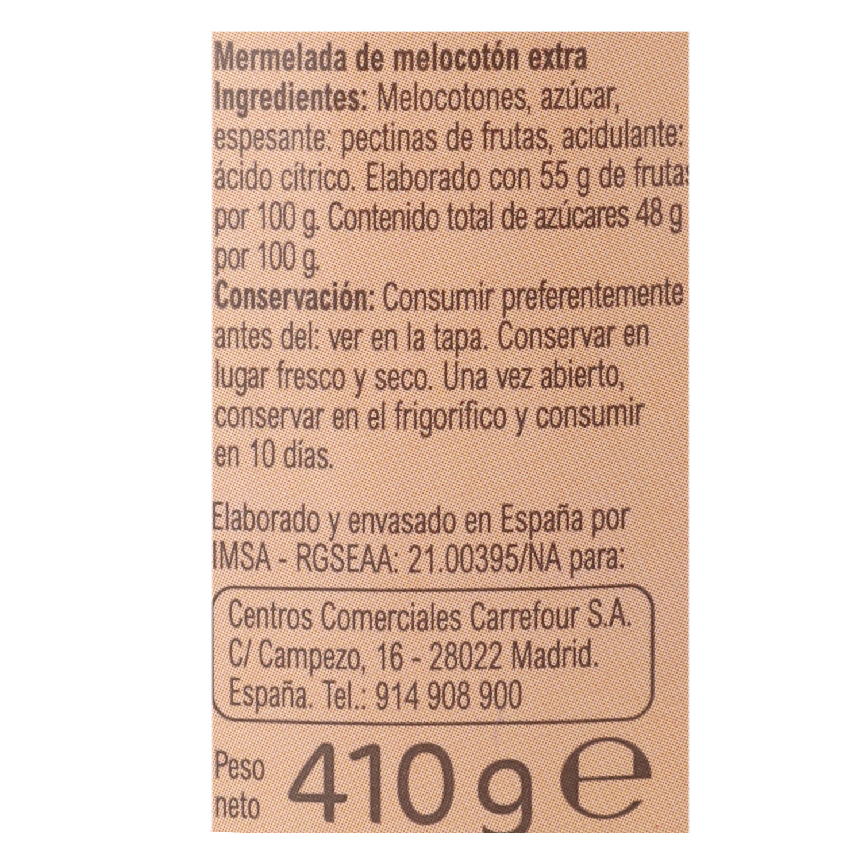 Mermelada de melocotón categoría extra Carrefour 410 g. - 2
