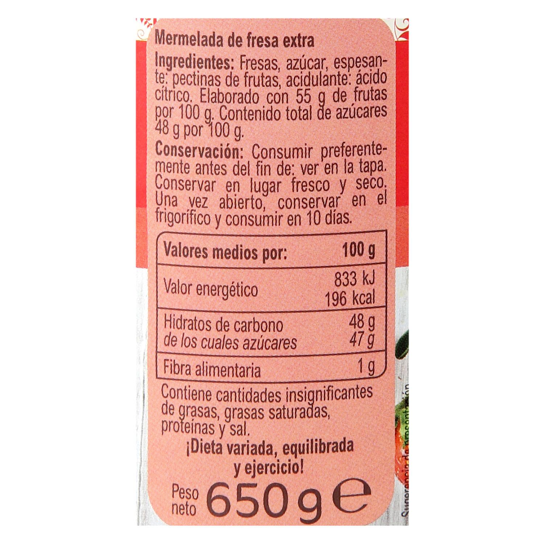 Mermelada de fresa catgoría extra Carrefour sin gluten 650 g. -