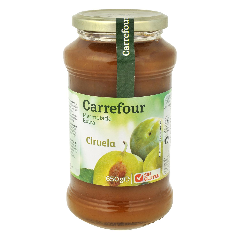 Mermelada de ciruela categoría extra Carrefour sin gluten 650 g.