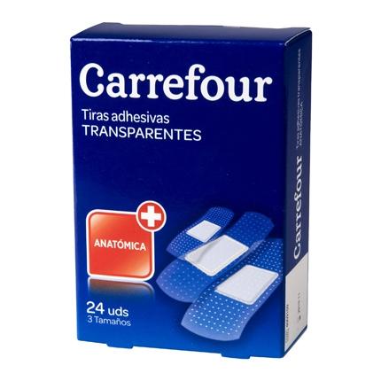 Tiras adhesivas transparentes surtidas Carrefour 24 ud.