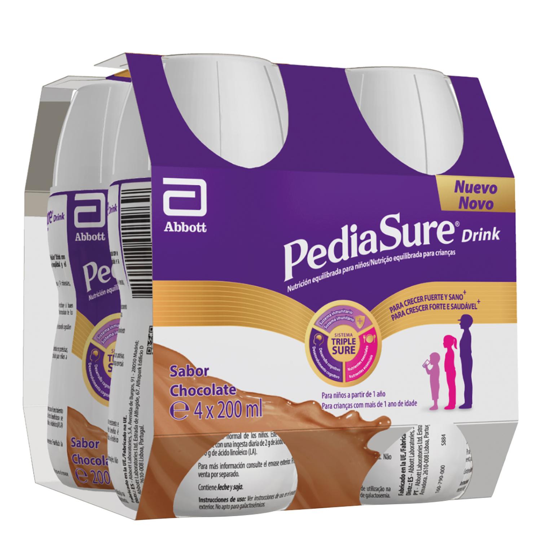 Complemento alimenticio de chocolate Pediasure Drink pack de 4 unidades de 200 ml.
