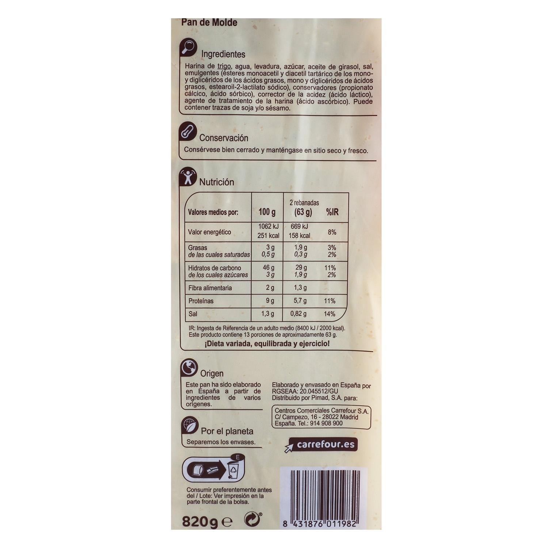 Pan molde Carrefour 820 g. -