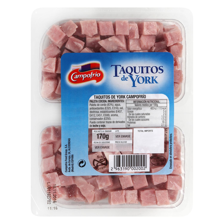 Jamón york en taquitos Campofrío pack 2s de 87 g -