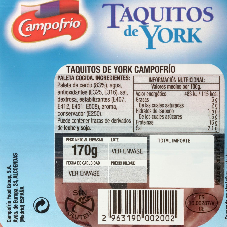 Jamón york en taquitos Campofrío pack 2s de 87 g - 3