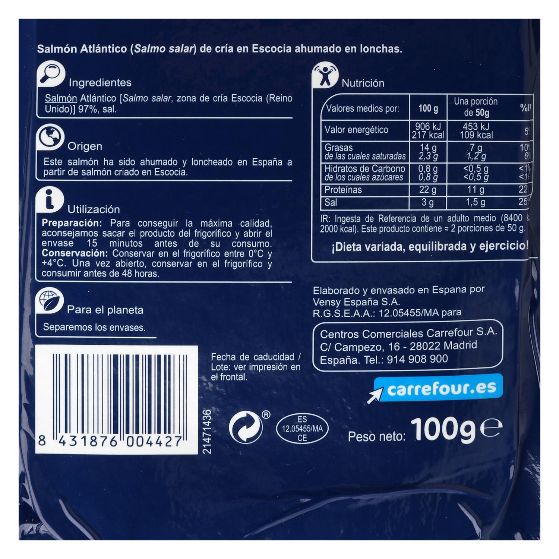 Salmón ahumado escocés Carrefour 100 g. -