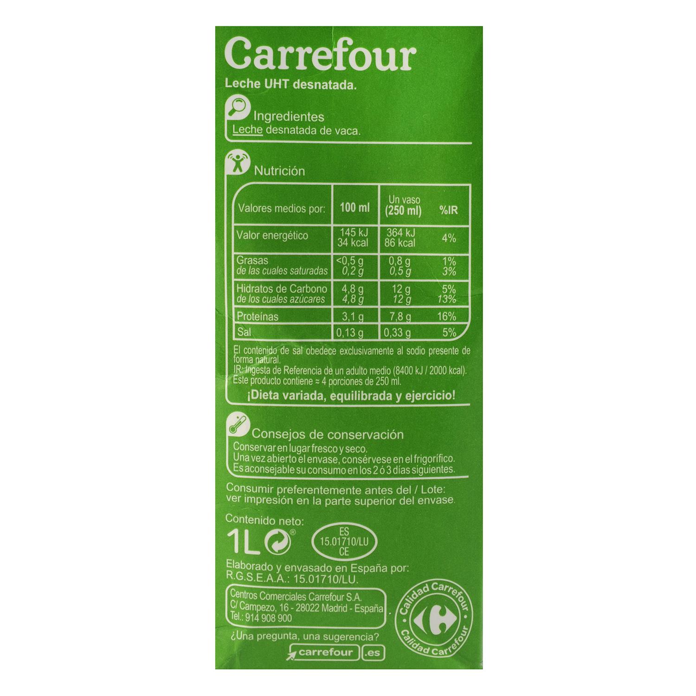Leche desnatada Carrefour brik 1 l. -