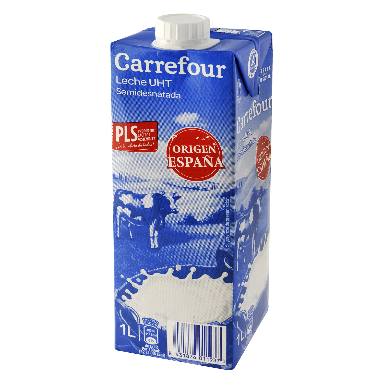 Leche semidesnatada Carrefour brik 1 l.