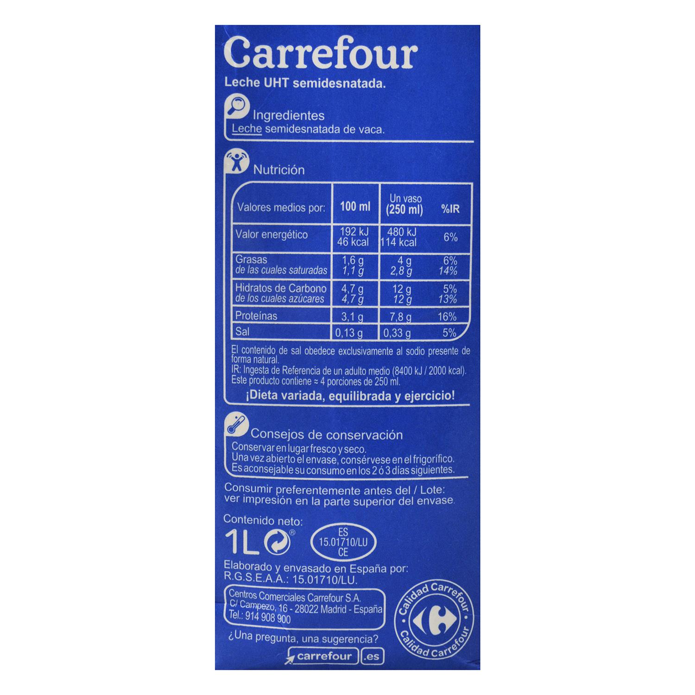 Leche semidesnatada Carrefour brik 1 l. -