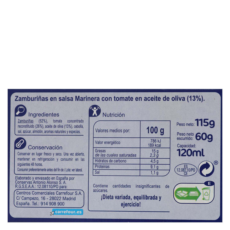Zamburiñas en salsa vieira con aceite de oliva Carrefour sin gluten 115 g. -