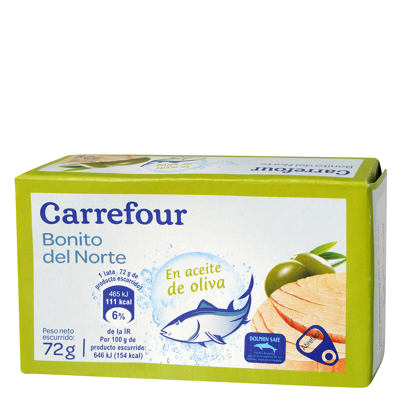Bonito del Norte en aceite de oliva Carrefour 72 g.