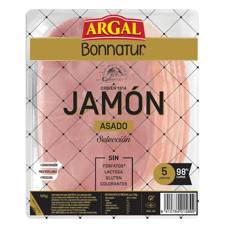 Jamón asado en lonchas Argal sin gluten y sin lactosa 140 g.