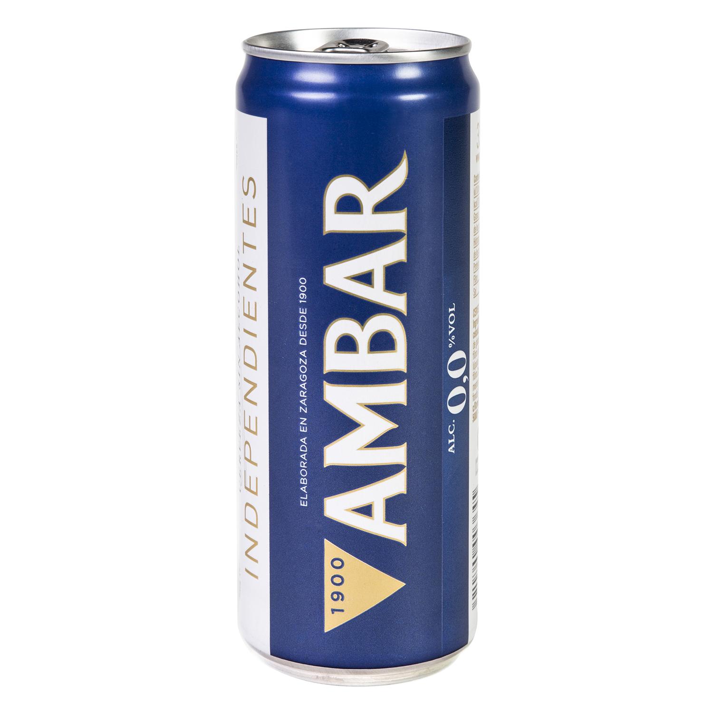 Cerveza Ambar 0,0 sin alcohol lata 33 cl.