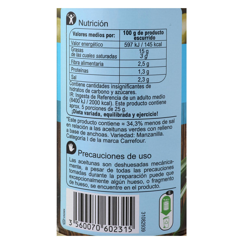 Aceitunas verdes rellenas con anchoa Carrefour 130 g. -