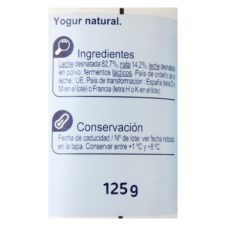 Yogur estilo griego natural Carrefour pack de 4 unidades de 125 g. -