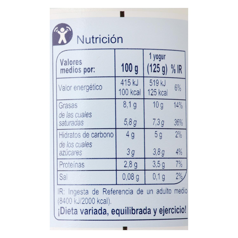 Yogur estilo griego natural Carrefour pack de 4 unidades de 125 g. - 2
