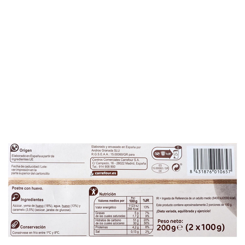 Tocino de cielo Carrefour sin gluten pack de 2 unidades de 100 g. -