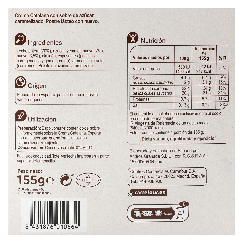 Crema catalana con azúcar caramelizado Carrefour sin gluten 155 g. -
