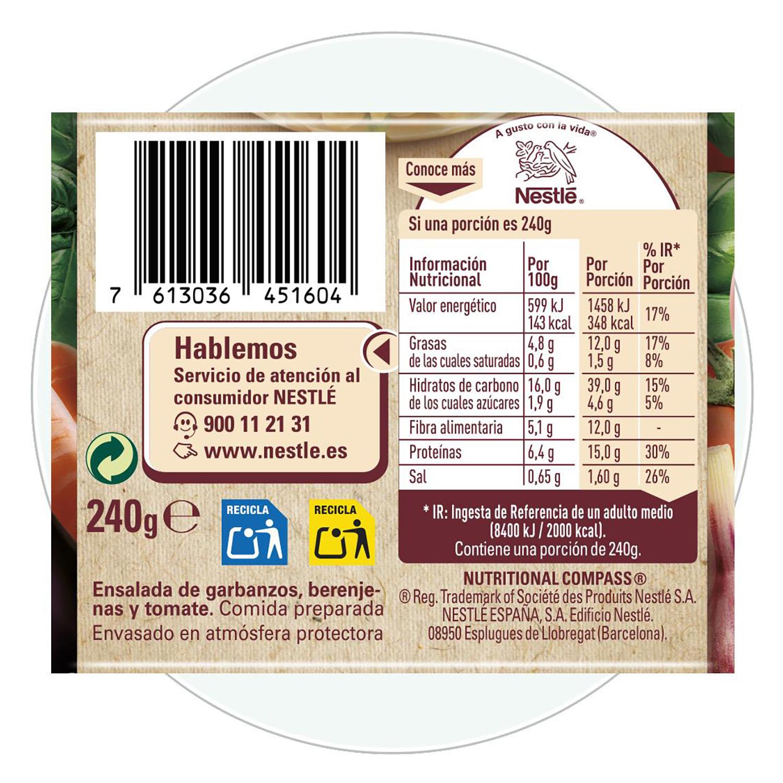 Ensalada de garbanzos con vinagreta Litoral 240 g. - 2