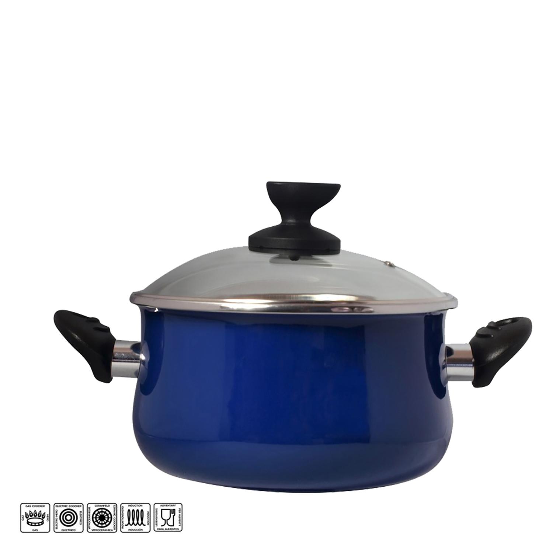 Olla con tapa de acero esmaltado Mod Danubio 24 cm  azul