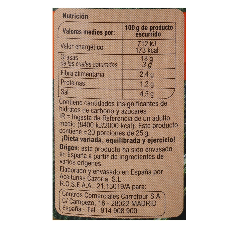 Aceitunas verdes partidas aliñadas Carrefour 500 g. -