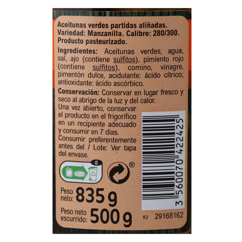 Aceitunas verdes partidas aliñadas Carrefour 500 g. - 2