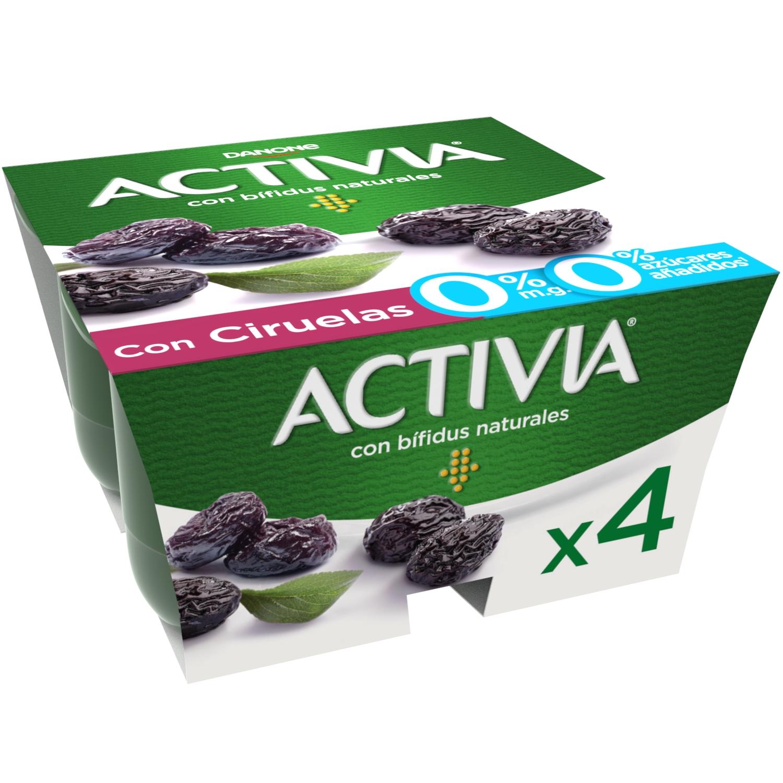 Yogur bífidus desnatado con ciruelas Danone Activia pack de 4 unidades de 125 g.