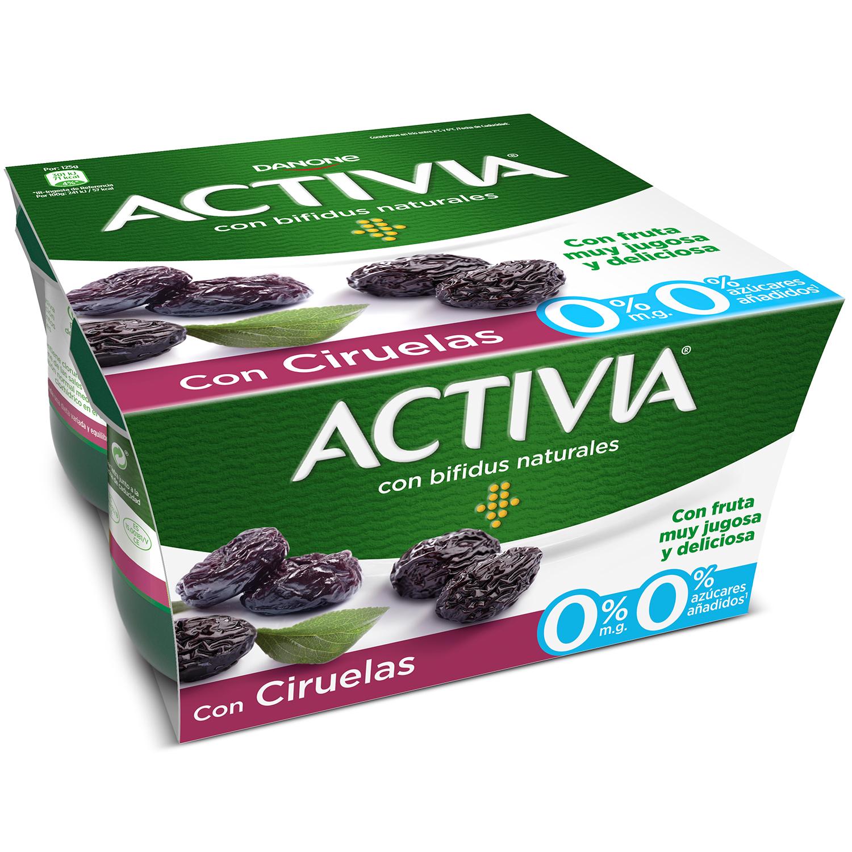Yogur bífidus desnatado con ciruelas Danone Activia pack de 4 unidades de 125 g. -