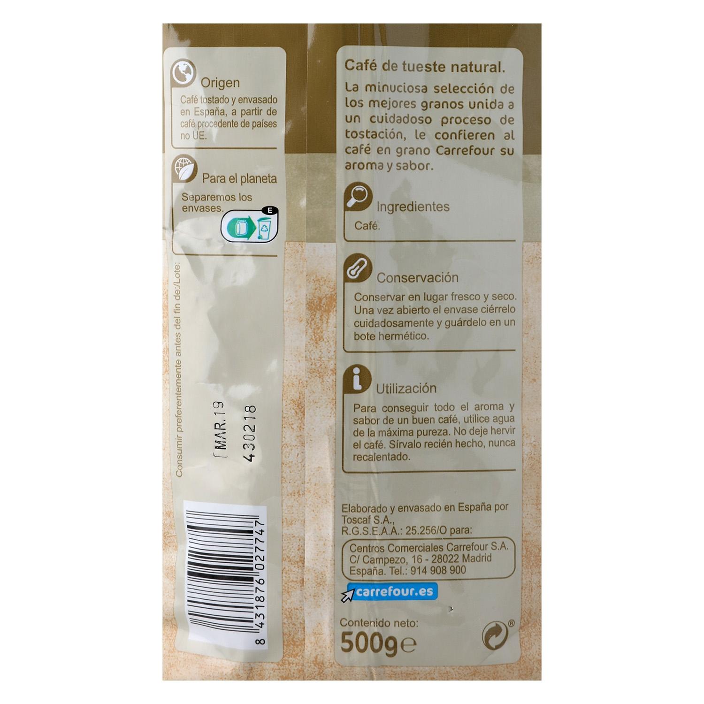 Café grano natural Carrefour 500 g. -