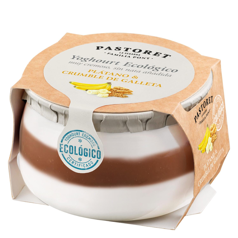 Yogur de plátano y crumble de galleta ecológico Pastoret 135 g.