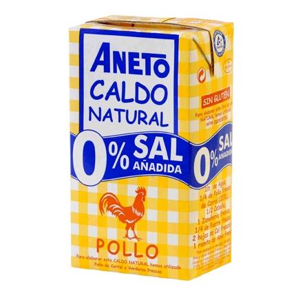 Caldo de pollo 0% sal añadida Aneto sin gluten 1 l.