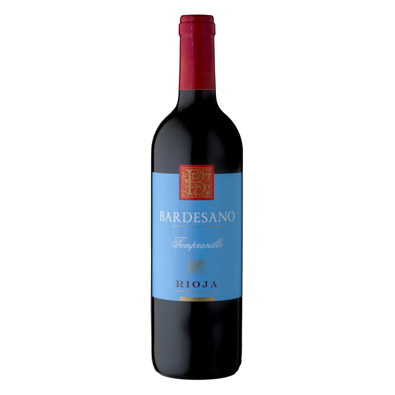 Vino D.O. Rioja tinto tempranillo Bardesano 75 cl.