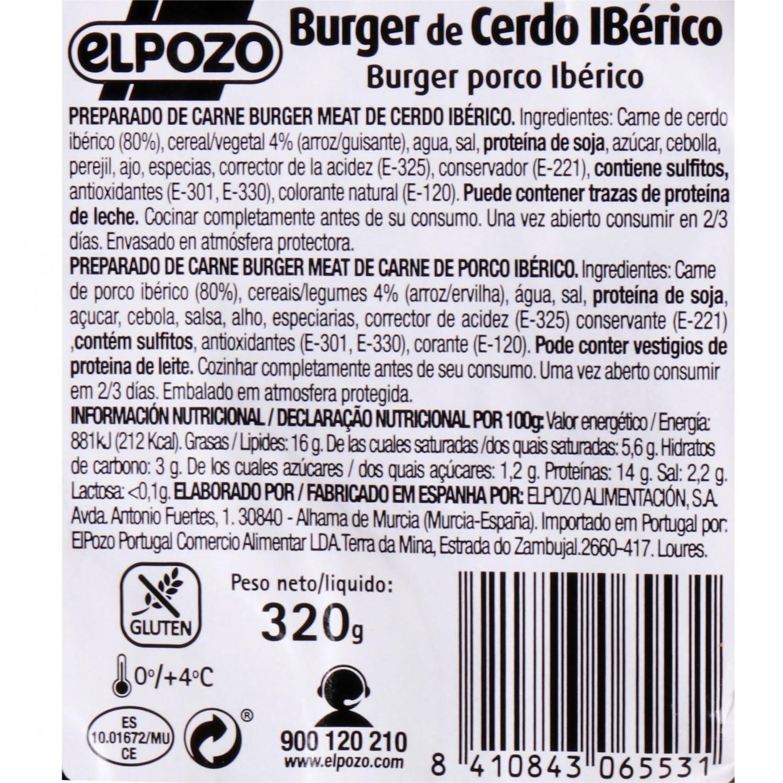 Hamburguesa de Cerdo Ibérico El Pozo 4 Unds 320 g  - 3